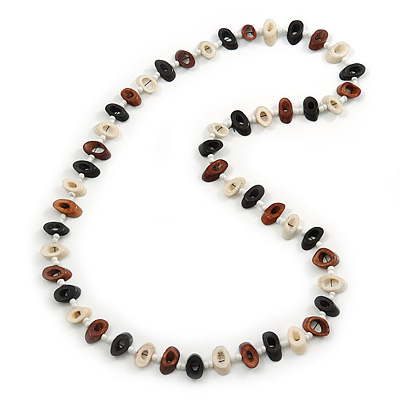 Black, Cream, Brown Bone Bead Necklace - 80cm L