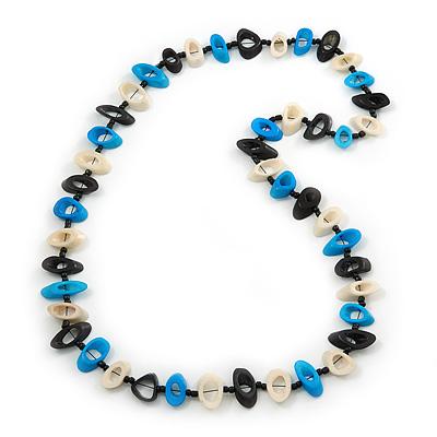 Black, Light Blue, White Bone Bead Necklace - 80cm L