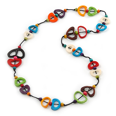 Multicoloured Bone, Wood Bead Cotton Cord Long Necklace - 96cm L