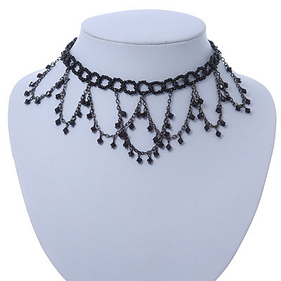 Chic Victorian/ Gothic/ Burlesque Black Bead Choker Necklace - 31cm Length/ 8cm Extension