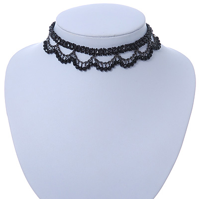 Chic Victorian/ Gothic/ Burlesque Black Bead Choker Necklace - 32cm Length/ 8cm Extension