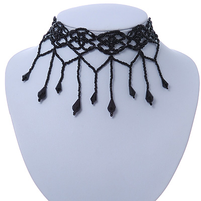 Fancy Dress Party Black Acrylic, Glass Bead Choker Necklace - 31cm L/ 7cm Ext