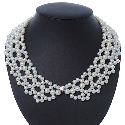 White Imitation Pearl Bead Collar Necklace In Silver Tone - 38cm L/ 4cm Ext