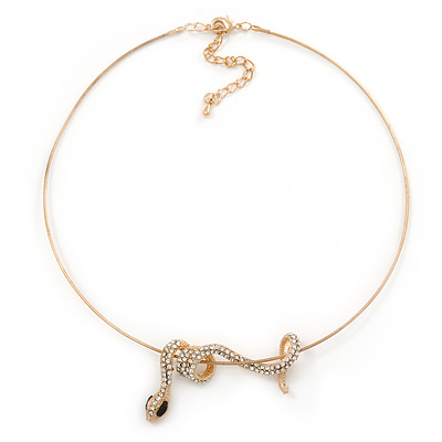 Gold Tone Crystal Coiled Snake Pendant With Wire Chain Necklace - 40cm L/ 7cm Ext