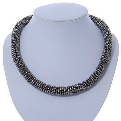 Statement Chunky Dim Grey Beaded Stretch Choker Necklace - 44cm L
