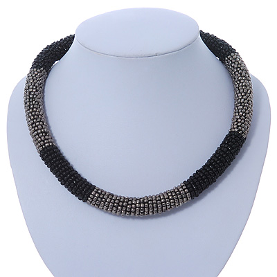 Statement Chunky Grey, Black Beaded Stretch Choker Necklace - 44cm L