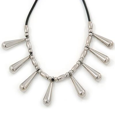 Silver Tone Teardrop Bead, Black Rubber Cord Necklace - 47cm L/ 4cm Ext