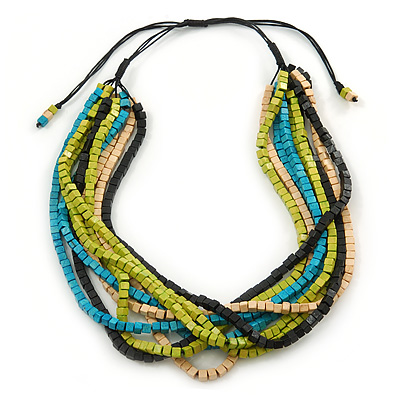 Multi-Strand Lime Green/ Black/ Teal/ Beige Wood Bead Adjustable Cord Necklace - 46cm to 58cm L