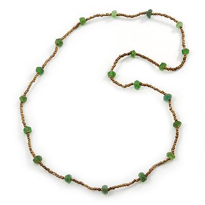 Long Bronze, Green Glass Bead Necklace - 94cm L