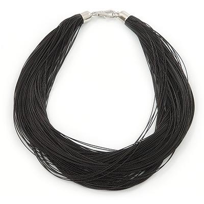 Multistrand Black Silk Cord Necklace In Silver Tone - 40cm L