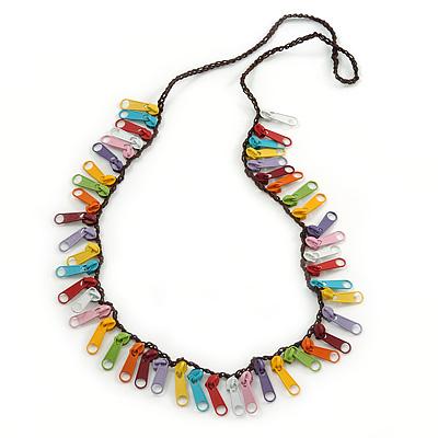 Funky Multicoloured Zipper Cotton Cord Long Necklace - 82cm L - main view