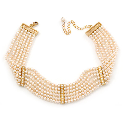 6-Strand Cream Coloured Faux Pearl Bridal Diamante Choker Necklace (Gold Plated Metal) - 29cm L/ 9cm Ext