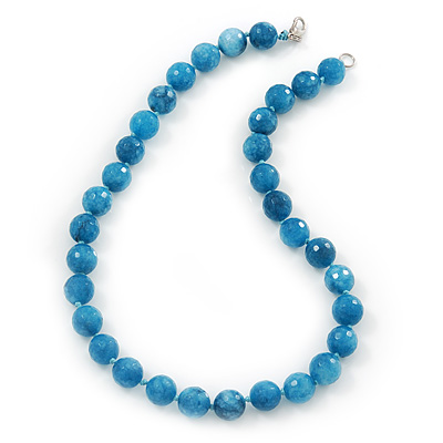 12mm Light Blue Agate Faceted Round Semi-Precious Stone Necklace - 45cm L
