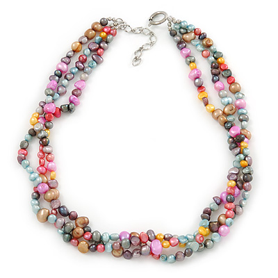 7-8mm Multicoloured Baroque Freshwater Pearl, 3 Strand Twisted Necklace - 46cm L/ 5cm Ext - main view