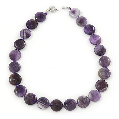 20mm Coin Amethyst Stone Necklace With Spring Ring Clasp - 46cm L