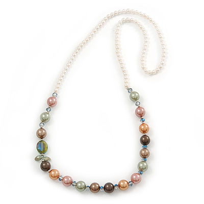 Multicoloured Shell Pearls with Crystal Glass Beads Long Necklace - 80cm L - main view