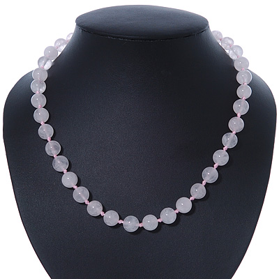 10mm Rose Quartz Round Semi-Precious Stone Necklace With Spring Ring Closure - 47cm L