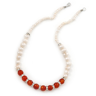 5mm - 10mm Cream Freshwater Pearl, Carnelian Stone and Crystal Rings Necklace - 45cm L