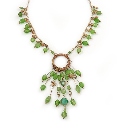 Vintage Inspired Green Glass Bead Tassel Necklace In Bronze Tone - 44cm L/ 7cm Ext