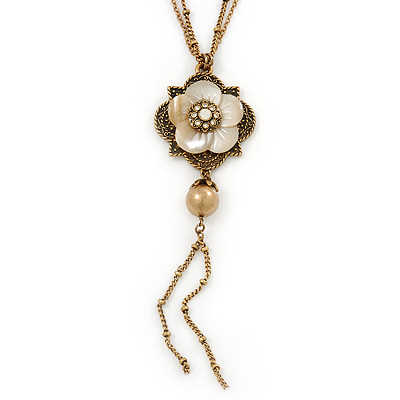 Vintage Inspired Mother Of Pearl Floral Pendant With Long Double Chain In Antique Gold Tone - 70cm L/ 6cm Ext