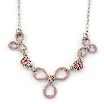 Vintage Inspired Pink Enamel Floral Necklace In Pewter Tone - 36cm L/ 6cm Ext