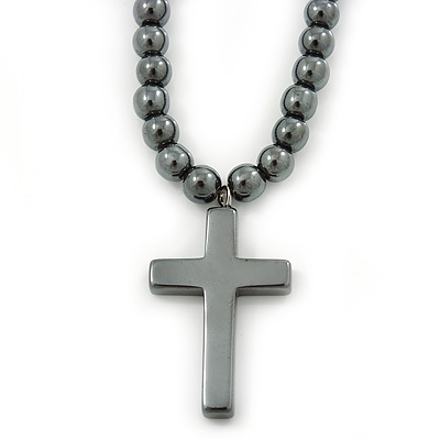6mm Dark Grey Hematite Beaded Necklace With Cross Pendant Screw Barrel Clasp - 47cm L