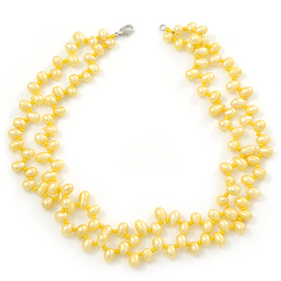 10mm Bright Yellow, Pear Shape Freshwater Pearl 2 Strand Necklace - 43cm L - main view