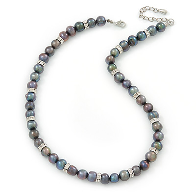 10mm Potato Shaped Peacock Coloured Freshwater Pearl With Crystal Rings Necklace In Silver Tone - 43cm L/ 6cm Ext - main view