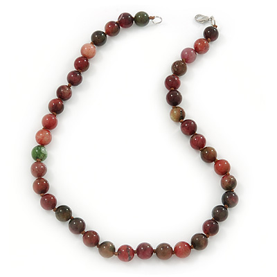 10mm Candy Jade Round Semi-Precious Stone Necklace - 46cm L