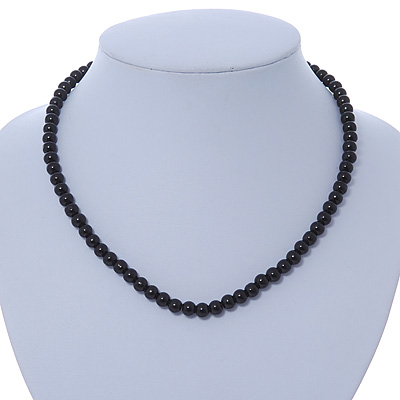 7mm Black Acrylic Bead Necklace In Silver Tone - 37cm L