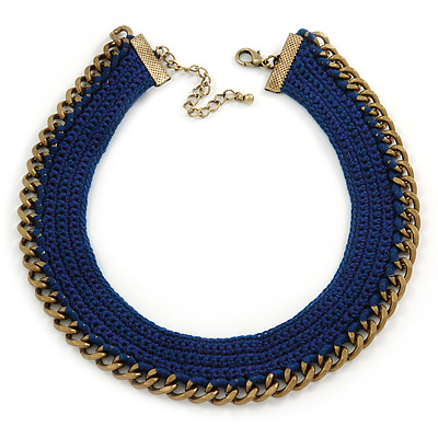 Dark Blue Cotton Collar Necklace with Antique Gold Chain - 35cm L/ 8cm Ext