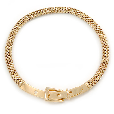 Stylish Gold Plated Belt Mesh Choker Necklace - 38cm L