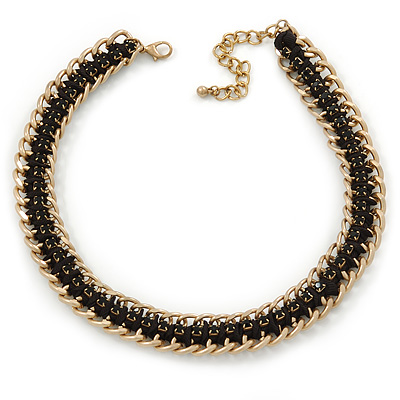 Statement Woven Black Silk Cord with Black Crystals, Matt Gold Chunky Chain Choker Necklace - 35cm L/ 8cm Ext