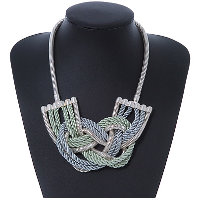 Light Green/ Grey Silk Cord Knot Pendant with Snake Style Chain Necklace In Silver Tone - 47cm L/ 8cm Ext