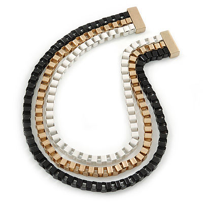 Black/ Brushed Gold/ White Square Link Layered Necklace with Magnetic Closure - 43cm L - main view