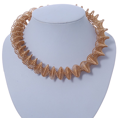 Chunky Spiral Choker Necklace In Gold Plating - 42cm Length/ 8cm Extension