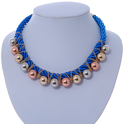 Blue Silk Cord With Gold/ Silver/ Rose Gold Balls Choker Necklace - 42cm L/ 5cm Ext - main view