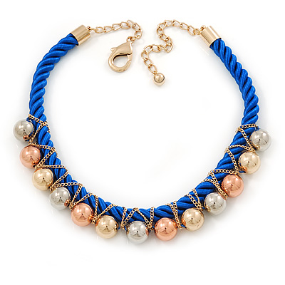 Blue Silk Cord With Gold/ Silver/ Rose Gold Balls Choker Necklace - 42cm L/ 5cm Ext