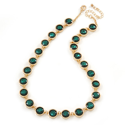 Statement Bezel Set Emerald Green Glass Bead Necklace In Gold Plating - 44cm L/ 7cm Ext