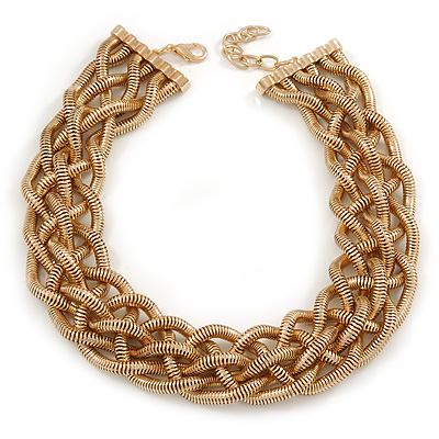 Statement Plaited Textured Chain Necklace In Gold Plated Metal - 49cm L/ 7cm Ext