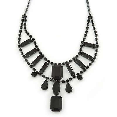 Avalaya Black Glass Crystal Bead Twisted Multi Strand Necklace and Drop Earrings In Silver Tone - 47cm L/7cm Ext XYm2TU