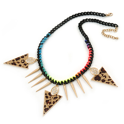 Statement Triangular Charm Black Chunky Chain With Multicoloured Silky Rope Necklace - 54cm L/ 7cm Ext - main view