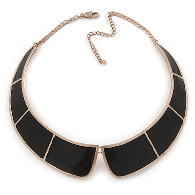 Statement Black Enamel Collar Choker Necklace In Gold Plating - 40cm L/ 7cm Ext