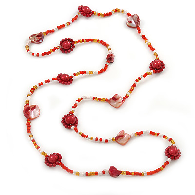 Long Red Shell, Orange, White Glass Bead Necklace - 100cm L