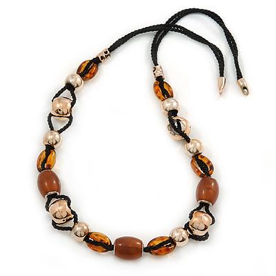 Long Brown, Gold Acrylic Bead Black Silk Cotton Cord Necklace - 88cm L