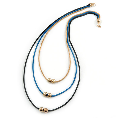 3 Strand, Beaded, Layered Mesh Chain Necklace In Black/ Blue/ Gold Tone - 86cm L - main view