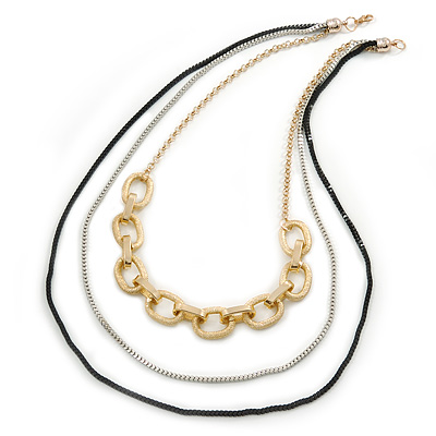 3 Strand, Layered Oval Link, Box Style Chain Necklace In Black/ Silver/ Gold Tone - 86cm L - main view