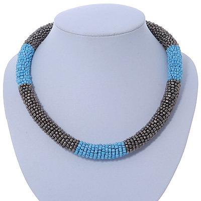 Statement Chunky Grey, Light Blue Beaded Stretch Choker Necklace - 44cm L