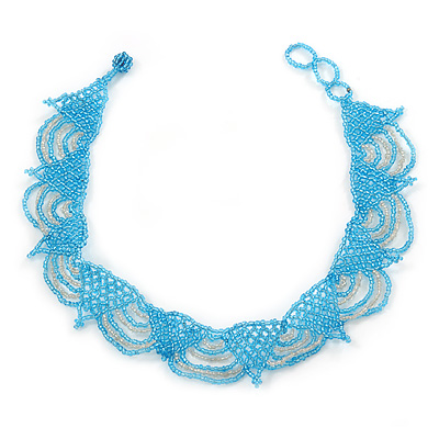 Light Blue/ Transparent Glass Bead Lacy Choker Necklace - 36cm L/ 3cm Ext
