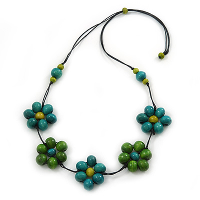 Green/ Teal Wood Bead Floral Black Cotton Cord Necklace - 80cm L